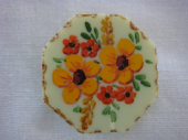 1940s Lucite Brooch with Handpainted Flower Decoration